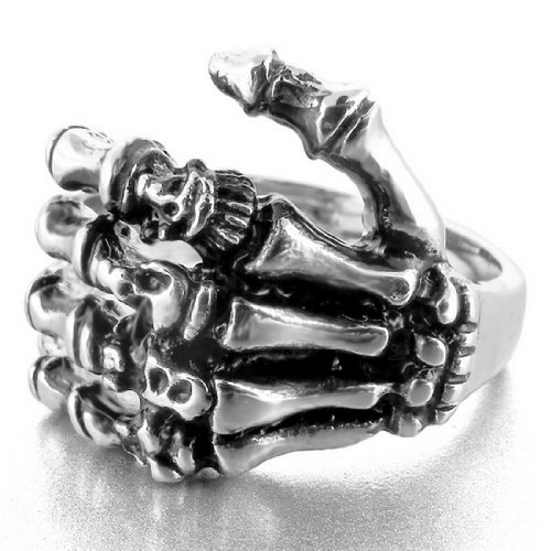 Stainless Steel Ring Band Silver Hand Bone Gothic