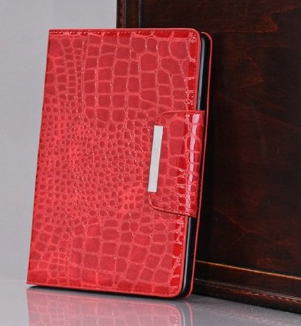 Crocodile Pattern Leather Case in RED
