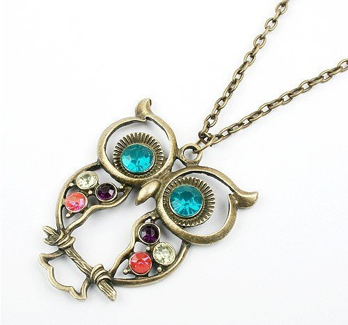 Crystal Owl Pendant and Chain with Antiqued Bronze/Brass Finish