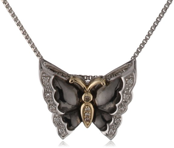 14k Gold Butterfly Diamond Pendant Necklace