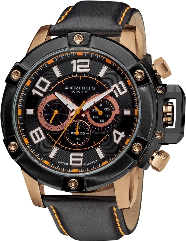 Akribos Multi-Function Stainless Steel Swiss Quartz Leather Strap Watch