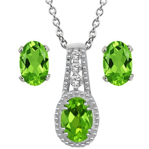 Green Peridot and White Topaz Sterling Silver Pendant and Earrings Set