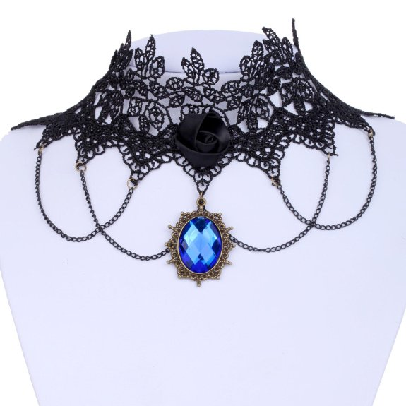 Jewelry Lace Collar Necklace Gothic Lolita Blue Glaring