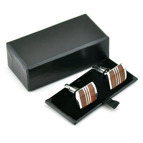 Rare Stainless Steel and Red Wood Cufflinks
