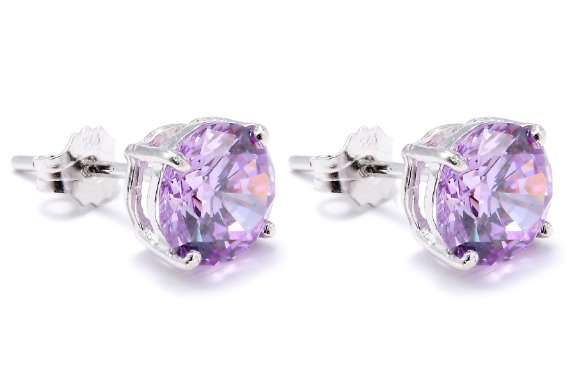 Sterling Silver.925 Amathist Color Cubic Zirconia Stud Earrings