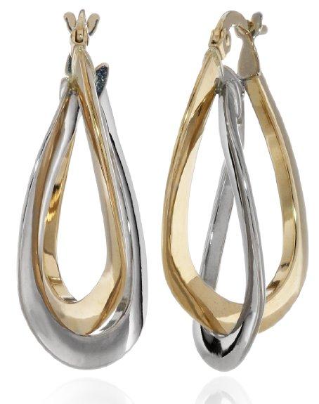14k Two-Tone Double Crossover Hoop Earrings