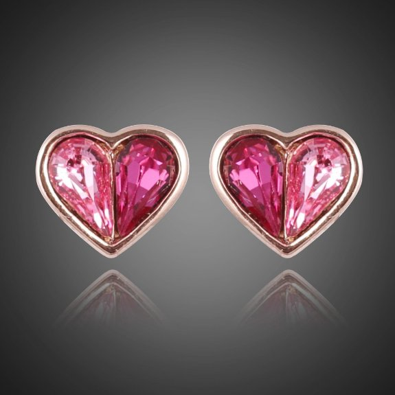 18K Gold Heart Shape with Rose Red Gemstones Stud Earrings
