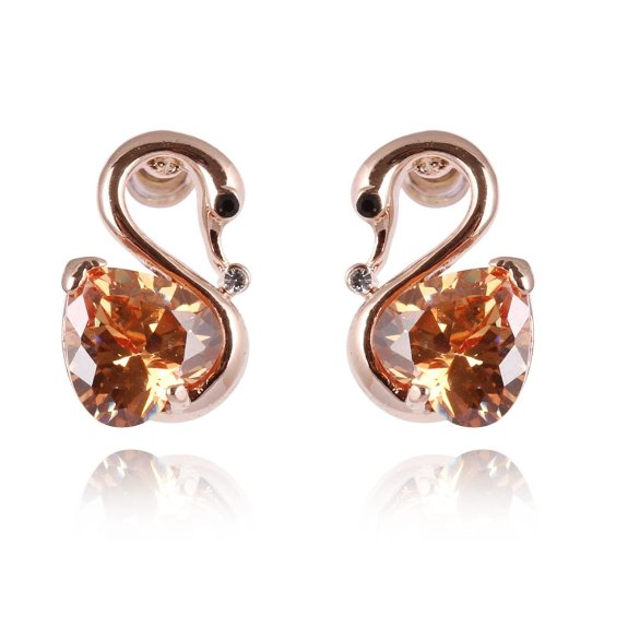 18K Gold Swan Yellow Swarovski Crystal Stud Earrings