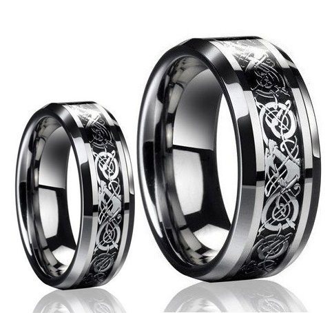 Dragon Design Tungsten Carbide Wedding Band Ring Set