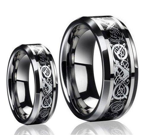 Dragon Design Tungsten Carbide Wedding Band Ring Set