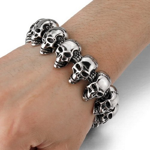 Stainless Steel Dragon Leather Bracelet Men's Stainless Steel Phantom Skull Bracelet Stainless Steel Very Thick Motorcycle Chain Bracelet - 18mm.