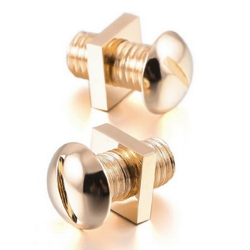 Men's Rhodium Plated Cufflinks Gold Screw Nut