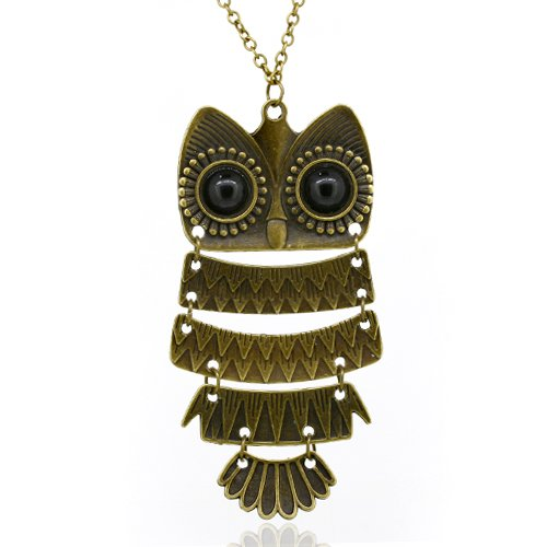 Owl Pendant Long Chain Necklace