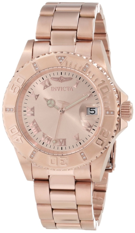 Rose Dial Diamond Accented Watch