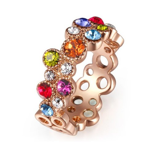 Rose Gold Finish Multicolor Swarovski Crystal Cocktail Ring