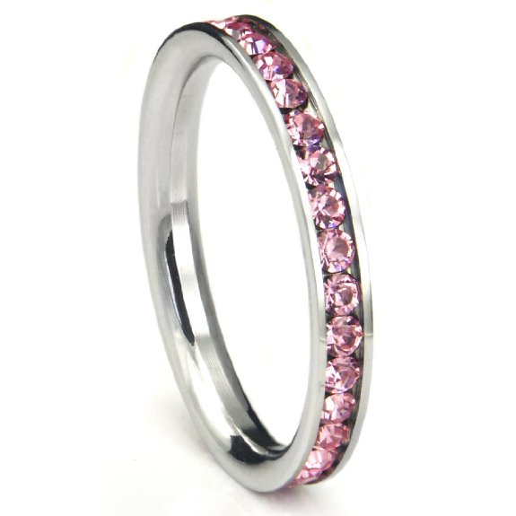 Stainless Steel Pink Cubic Zirconia