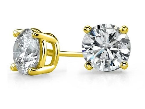 Zirconia 925 Sterling Silver Gold Plated Overlay Stud Earrings