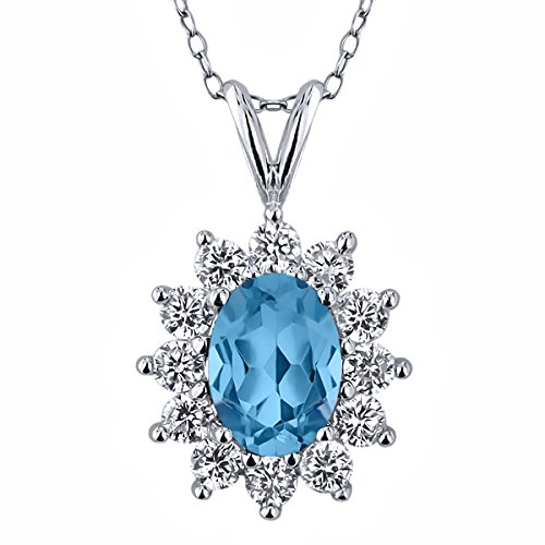 1.50 Ct Swiss Blue Topaz 925 Sterling Silver Pendant