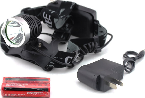 Outdoor Waterproof 1600LM XM-L T6 LED Headlamp + 2 X 18650 Rechargeable Batteries + Charger