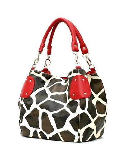 Giraffe Print Faux Leather Satchel Bag Handbag