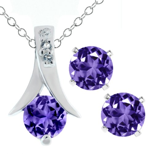 Amethyst .925 Silver Pendant and Earrings Set 18″ Chain