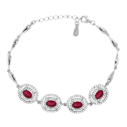 Ruby Sterling Silver 7″ Bracelet with 1″ Extender
