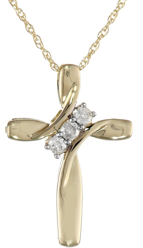 Yellow Gold Three-Diamond Cross Pendant Necklace