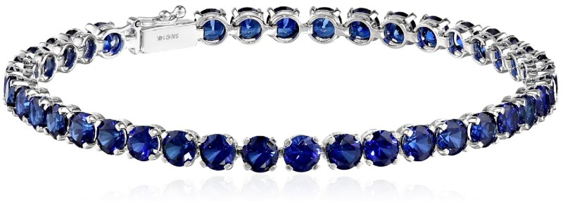 14k White Gold and Created Gemstone Tennis Bracelet