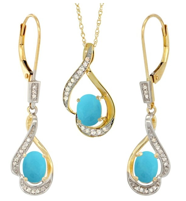 Natural Turquoise Lever Back Earrings and Pendant Set Diamond Accent