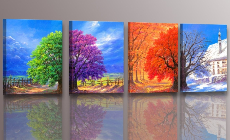 4panel Wall Art Boat Spring