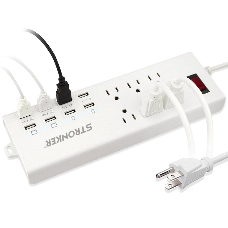 6-Outlet Home/Office Surge Protector With 8 USB Charging Ports