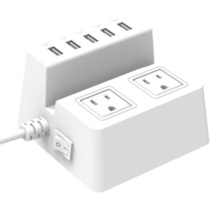 Home/office Power Strip with 5-port USB and 2-outlet Surge Protector