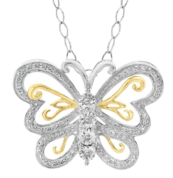 Butterfly Pendant Necklace with Diamonds in 22K Gold over Sterling Silver