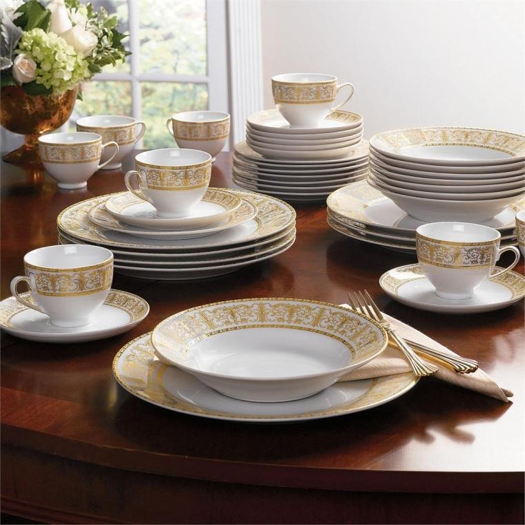 Golden Ceramic Dinnerware Set