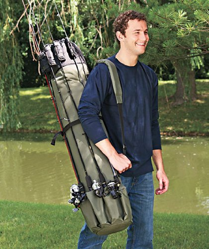 Heavy Duty Fishing Rod & Reel Organizer Bag Travel Carry Case
