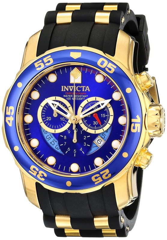 Invicta Men's Blue Dial Black Polyurethane Watch