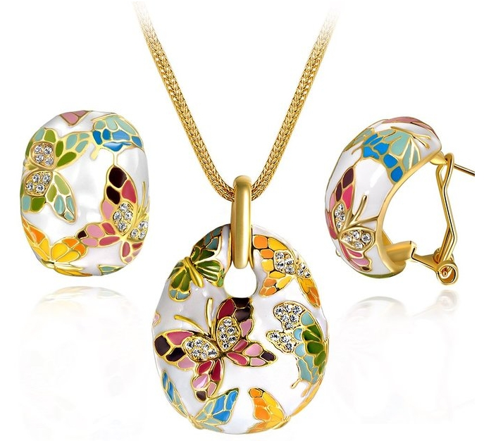 Multicolored Butterfly Women Jewelry Set Pendant Necklace Earrings