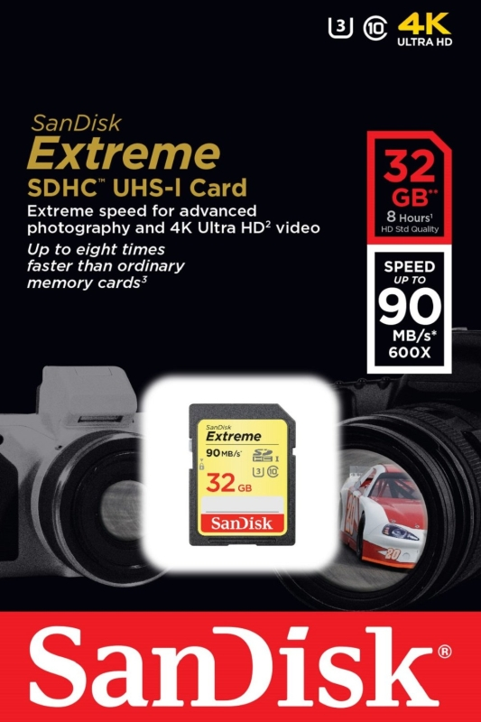 SanDisk Extreme SDHC UHS-IU3 32GB Memory Card Up To 90MBs Read