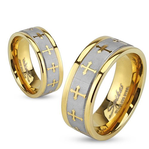 Stainless Steel Celtic Cross Gold IP Ring with Brushed Center Two Tone Ring;