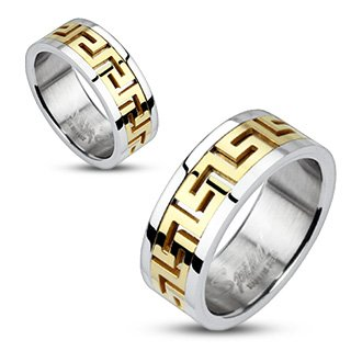 Stainless Steel Gold IP Maze Pattern Center Band Ring