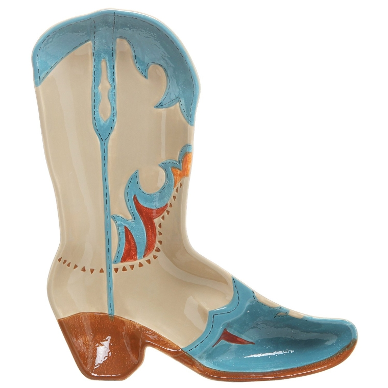 Western Cowboy Boot Design Multicolored Ceramic Novelty Serving Platter Dish