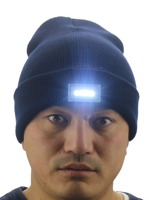 5 LED Lighted Night Fishing Camping Hunting Hiking ON-OFF Knitted Beanie Hat Cap