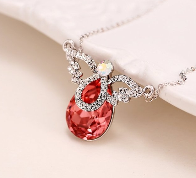 Austrian Crystals Wings of Angel Charm Pendant Necklace
