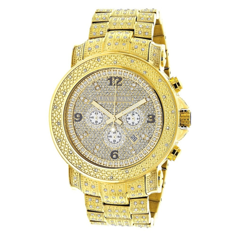 Luxurman Oversized Iced Out Mens Diamond Watch Yellow Gold Plated Escalade 2ct