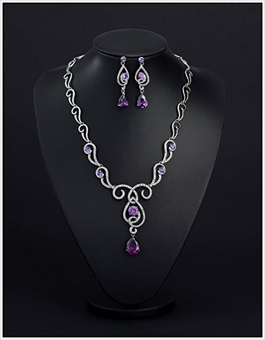 Zirconia Made with Swarovski Elements Teardrop Jewelry Set Necklace Earrings Christmas Gifts
